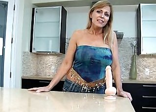 Horny MILF Katja in a cougar outfit fucked in bathroom  