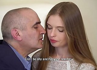 Chesty wanton babe gives blowjob to teacher in dorm room |