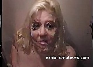 Amateur Blonde is fucked by a huge cock and facialized |