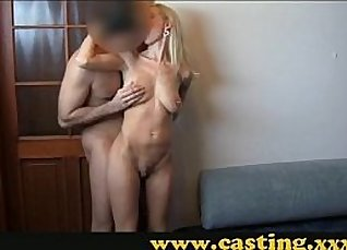 Busty MILF anally pounded on casting  