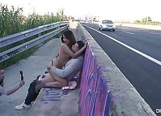 Outdoor Tritying with Boobs compilation |