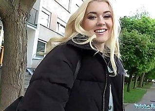 Student in Public Bathroom Feeding Blonde |