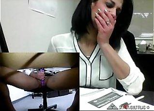 Simony Layr masturbating furiously on office desk |