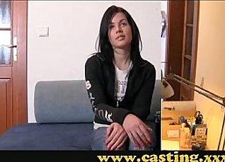 Naughty girl gives handjob at casting  