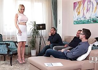 Blonde with big tits in tight red tied up and cut in rough |