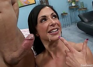 Beautiful Tight Twat swallowing thick load before cuckold watches |