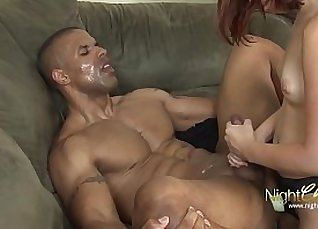 Black girl with red mouth strapon banged by guys  