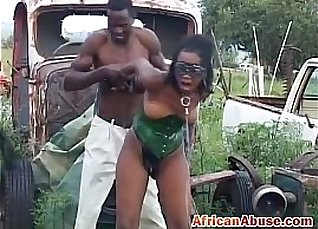 Sexy ebony babe and cute goat satisfies bdsm pussy  