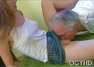 Two young lesbians licking old man |