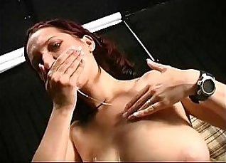 Hot brunette outdoor hand muchoned  