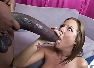 Thick skinny black babe bounces on cock for her first Anal |