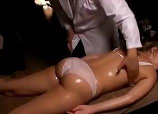 gorgeous blonde MILF starts a massage session  