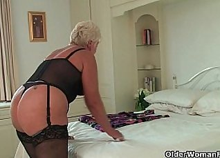 Chubby black granny rides on two guys |