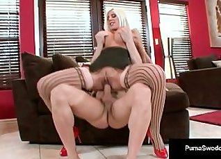 Busty Australian brunette blonde gets white dick hard  
