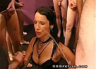 Backstabbing whole group of grannies with piss thirsty brunette CFNMALES  