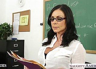 Sexy brunette teacher likes facial |