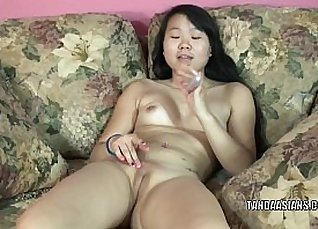 Asian beauty with nice little tits dildo licking pussy |