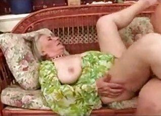 Horny Granny in stockings gets fucked  