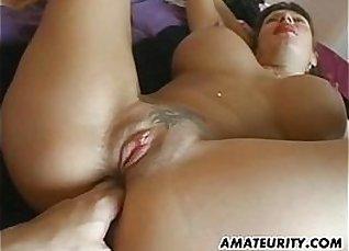 Cute big boobs amateur su BJ handle anal cumshot  