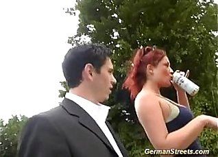 Horny redhead german babe gets fucked and got gangbanged by alien  