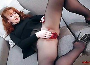 Lingerie redhead enjoys the suck sex |