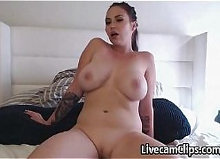 Busty amateur babe straddles a dick |