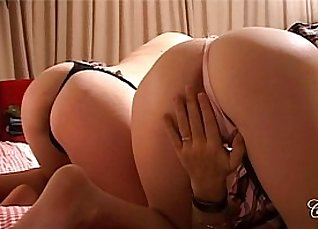 Lesbian Brunette Angel Sucks and Rides his Cock Uncontrollably |