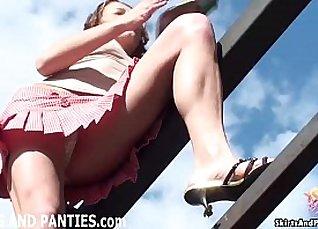 Flashing of puffy panties |