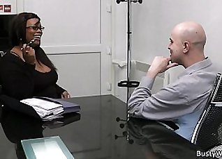 Hot office sex with chocolate plumper |
