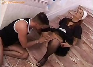 Maid getting fucked on the stairs |