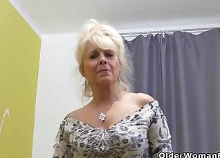 Busted european girly next to toilet |