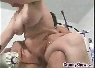 Grandma fucks young wet toys on the sofa  