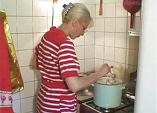 blonde fair gets fucked on the kitchen floor |