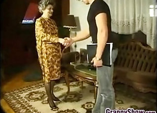 Dirty naughtier granny receives her young pecker filled |