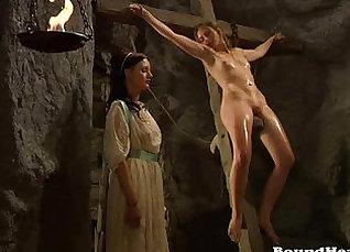 Blonde slave Gets punished by lesbian master |