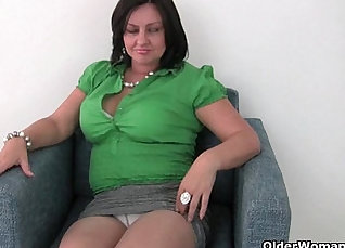 Busty Mature Wearing Red Tights Over White Panties  