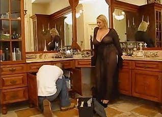 Boobalicious blonde lady gets her fat muff nailed on the easily accessible table |