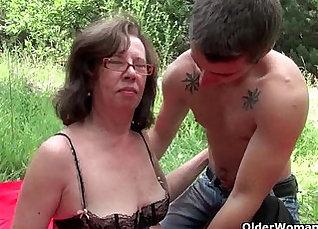 British Granny fucks that hard ass outdoor |