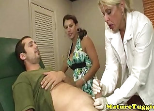 Busty milf takes inches cock in ffm sex session |