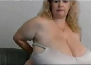Chubby granny with giant boobs getsthroated and cumed on the floor |