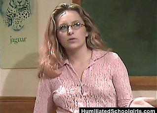 Students teach male teacher how to fuck student  