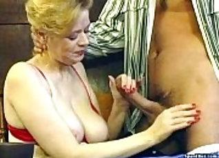 Asian Granny Eats and Licks Tongues of Big Dick Wet |