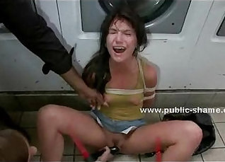 Busty hottie abused and humiliated in front of teens  