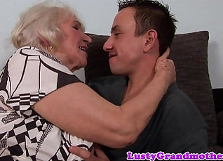 Busty granny tit fucked and jizzed  