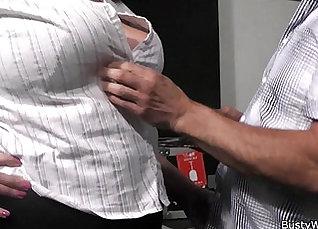 Varsity secretary pumping his fat cock with spanks |