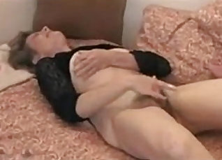 Her HAIRY body is in the kitchen and her pussy rubbing her tits |