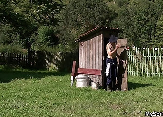 Cheating GF fucked outdoors in the grass |