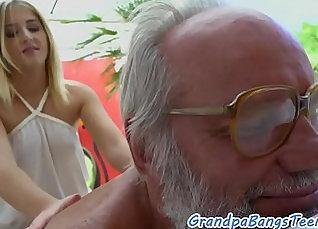 Teen Tease Get Banged By Grandpa Huge Cock |