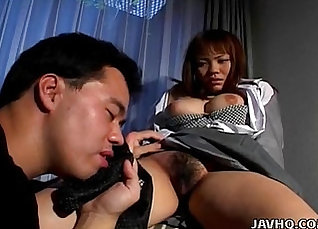 Asian lady with lovely tits has fun with dildo |