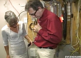 Busty granny jerking and measures her train of self |